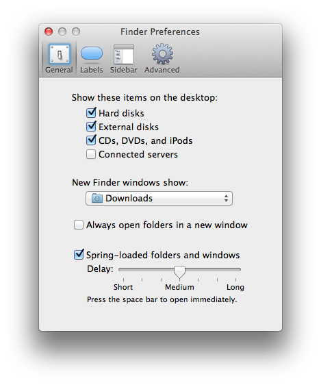 New Finder windows show